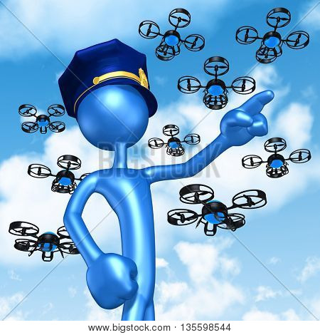 Aerial Police Drones 3D Illustration Concept