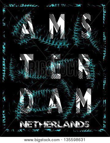 Amsterdam typography design with flowers fashion style