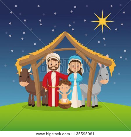 Manger represented by Holy family icon over night background. Merry Christmas design.