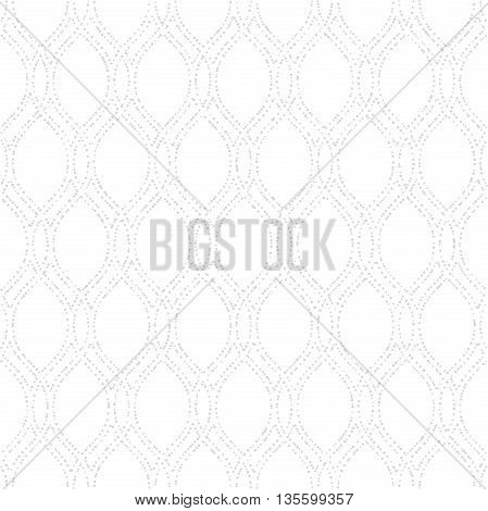 Seamless vector ornament. Modern geometric pattern with repeating dotted wavy lines. Light silver pattern