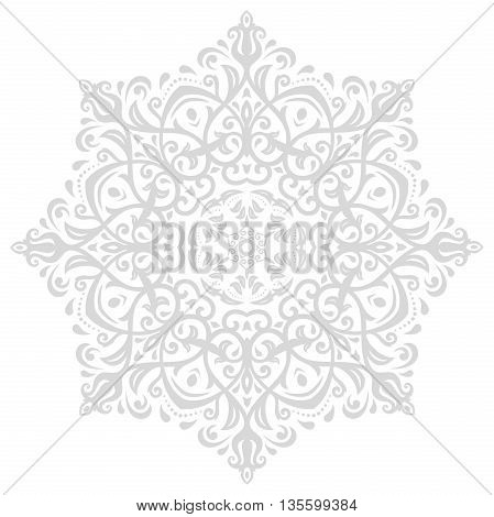 Elegant vector ornament in the style of barogue. Abstract traditional pattern with oriental elements. Light silver pattern