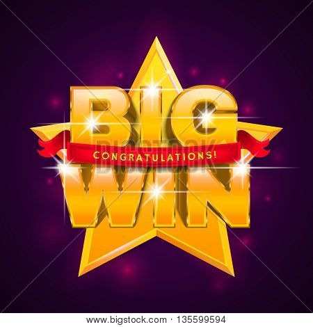 BIG WIN banner with ribbon for online casino, poker, roulette, slot machines, card games.