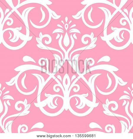 Seamless oriental pattern in the style of baroque. Traditional classic vector ornament. Pink and white pattern
