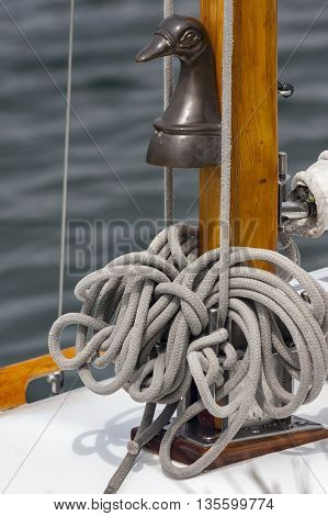Rope on a yacht sailing in close up detail