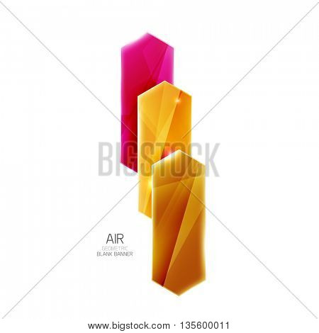 Blank colorful glossy arrow stripes for text. Vector universal presentation element or background template