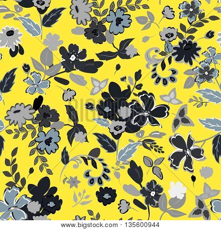 Illustration of floral seamless. Isolated flowers and leafs on yellow background.