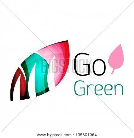 Go green nature concept. Vector logo leaf