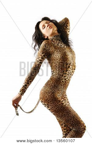 Woman In Dappled Catsuit