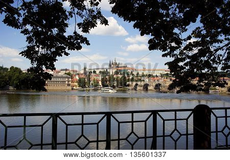 view of Prague Castle, St. Vitus Cathedral and Lesser Town over Vltava river