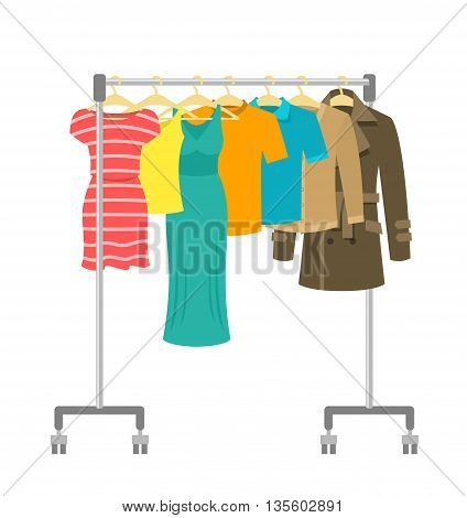 Hanger rack with male and female clothes. Flat style vector illustration. Casual garment hanging on portable rolling metal commercial hanger stand. Everyday outfit sale concept. Fashion collection.