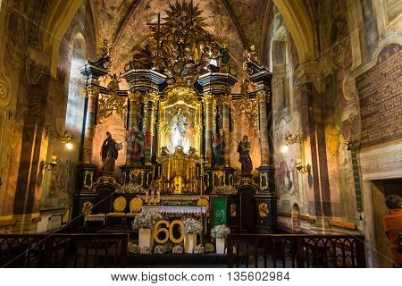 Staniatki Poland - June 9 2016: The historic convent the nuns of the Benedictine abbey interior of the church.