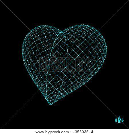 Love heart symbol. Design element. 3d vector illustration.