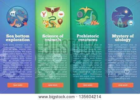 Sea bottom exploration. Zoology study. Animal world. Living organism. Prehistoric creatures. Dinosaur period. Ufology files. Education and science vertical layout concepts. Flat modern style.