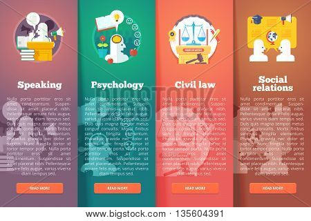 Social, civil and public relations. Civil law. Justice. Speaking skill of oratory. Education and science vertical layout concepts. Flat modern style.