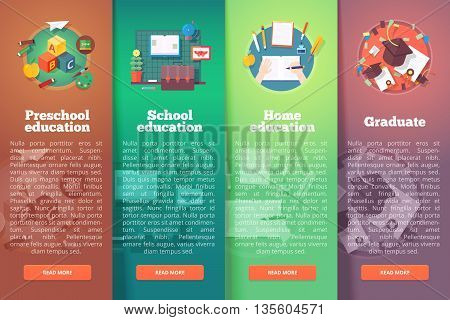 Steps of educational process. Types of knowledge resources. Preschool. Basic and elementary subject. Graduation. Education and science vertical layout concepts. Flat modern style.