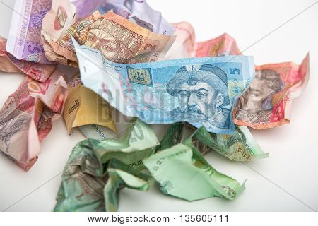 Ukrainian currency hryvnia on a white background.