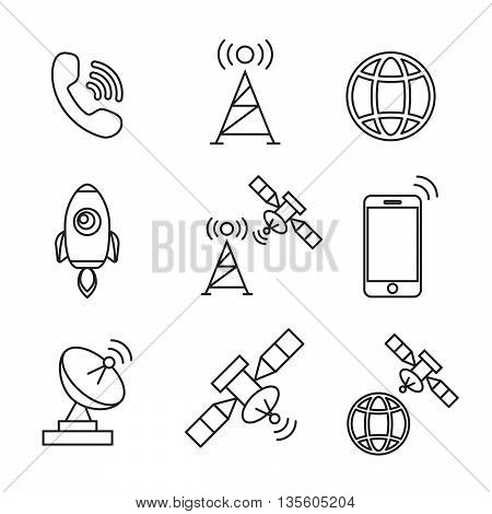Satellite icons vector. Satellite communication wireless satellite connection satellite technology eps10