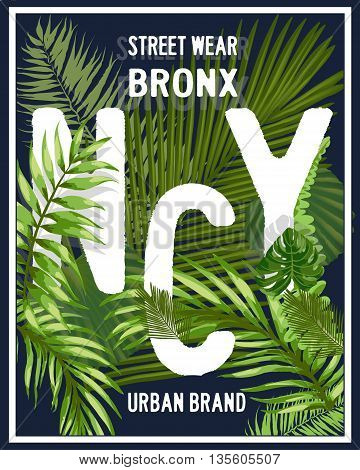 New york Brooklyn typography with floral illustration. T shirt graphic . Vectors