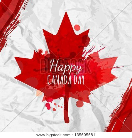 Holiday Poster With Red Canada Maple Leaf Drawn On Crumpled White Paper. Happy Canada Day Watercolor