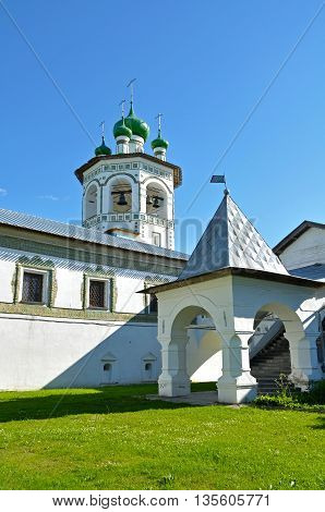 Architecture landscape - belfry and porch in Nicholas Vyazhischsky stauropegic monastery Veliky Novgorod Russia architecture summer view Orthodox temple architecture Russian architecture ensemble