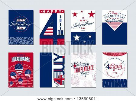 Vector illustration of happy USA Independence day felicitation background set with typography, lettering element, balloon, fireworks, flag in simple vintage style. Invitation 4th july. Print, web design.