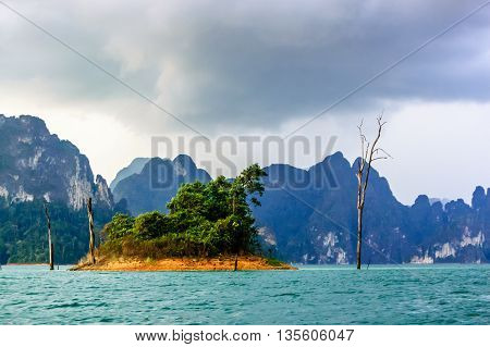 Island on Cheow Lan Lake, Khao Sok National Park in Surat Thani Province, southern Thailand