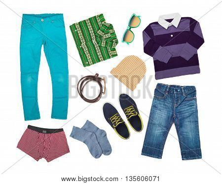 stylish clothes collection isolated on white background