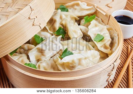 Steamed Asian dumplings. Steamed dumplings with fillings