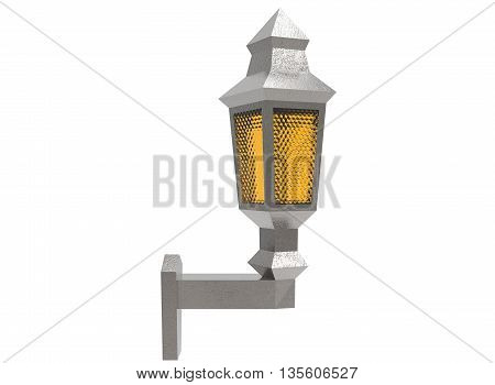 3d illustration of low poly lantern. icon for game web. white background isolated. glass and metal.