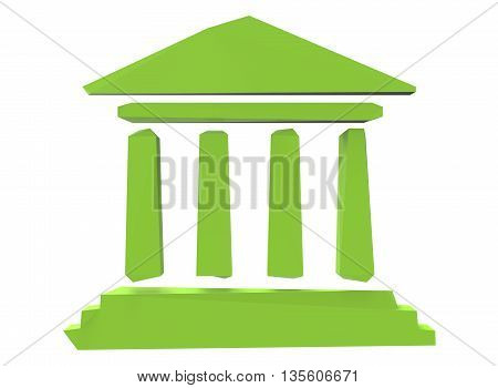 3d illustration of bank sign. icon for game web. white background isolated. green color