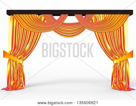 3d illustration of curtain. icon for game web. white background isolated with shadow.