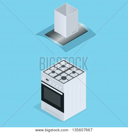Interior of kitchen, metal pan on the stove, cooking. Vector illustration in flat style. Flat 3d isometric illustration
