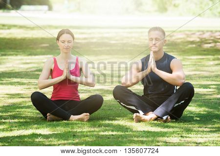Young Couple Practicing Yoga In Park At Morning