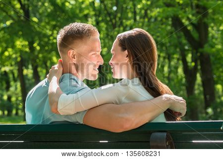 Rear View Of Happy Couple In Love Sitting On Bench In Park