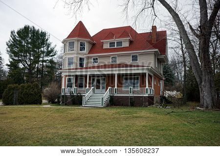 A large, elegant mansion, near the Zorn Park Beach in Harbor Springs, Michigan.