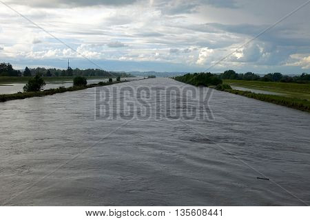 Fussach, Austria, June 18, 2016: The Rhine river is flooding its dams in Fussach, Austria.