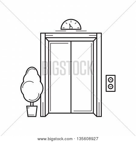 Line office building elevator and tree. Isolated vector illustration