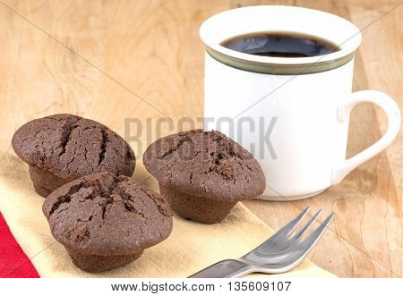 mini chocolate muffins baked fresh cor breakfast