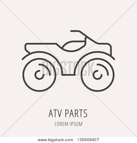 logo or label atv. Line style logotype template. Easy to use business template. Vector abstract logo or emblem.