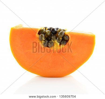 sliced papaya isolated on a white background