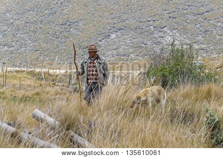 CHIMBORAZO, ECUADOR, circa OCTOBER - 2015 - Ecuadorian indigenous aged farmer with his dog at countryside