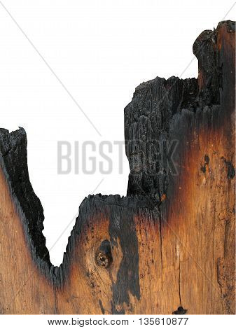 burned wood texture and white background ,