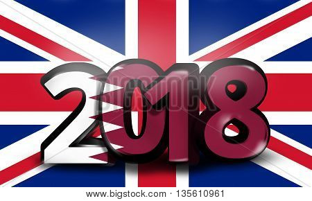 Qatar United Kingdom 2018 Big Bold Font 3D Render Illustration