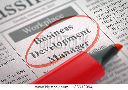 Business Development Manager - Small Ads of Job Search in Newspaper, Circled with a Red Highlighter. Blurred Image. Selective focus. Job Search Concept. 3D Illustration.