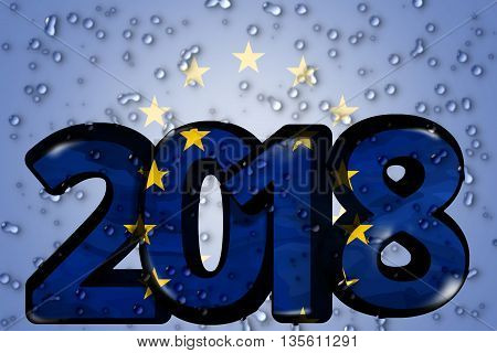 2018 Europe Eu European 3D Render Bold Font