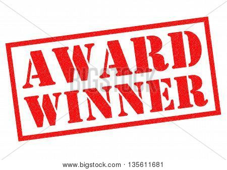AWARD WINNER red Rubber Stamp over a white background.