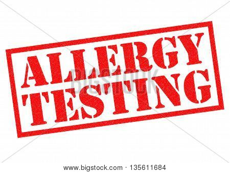 ALLERGY TESTING red rubber Stamp over a white background.