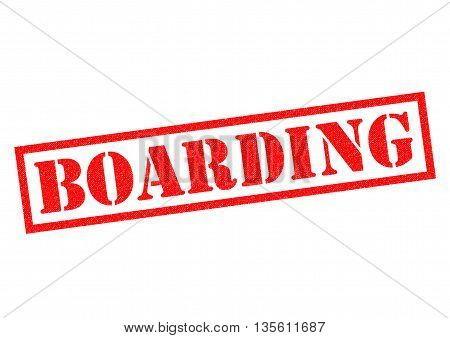 BOARDING red Rubber Stamp over a white background.