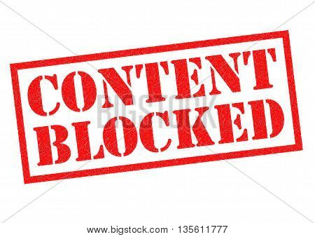 CONTENT BLOCKED red Rubber Stamp over a white background.