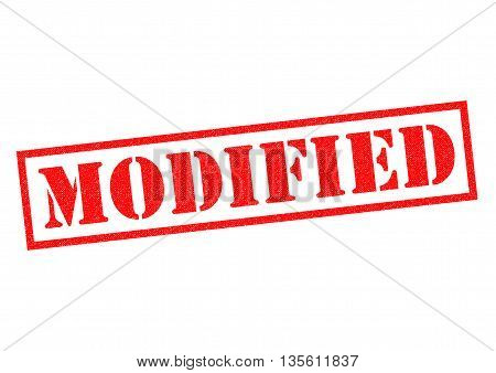 MODIFIED red Rubber Stamp over a white background.